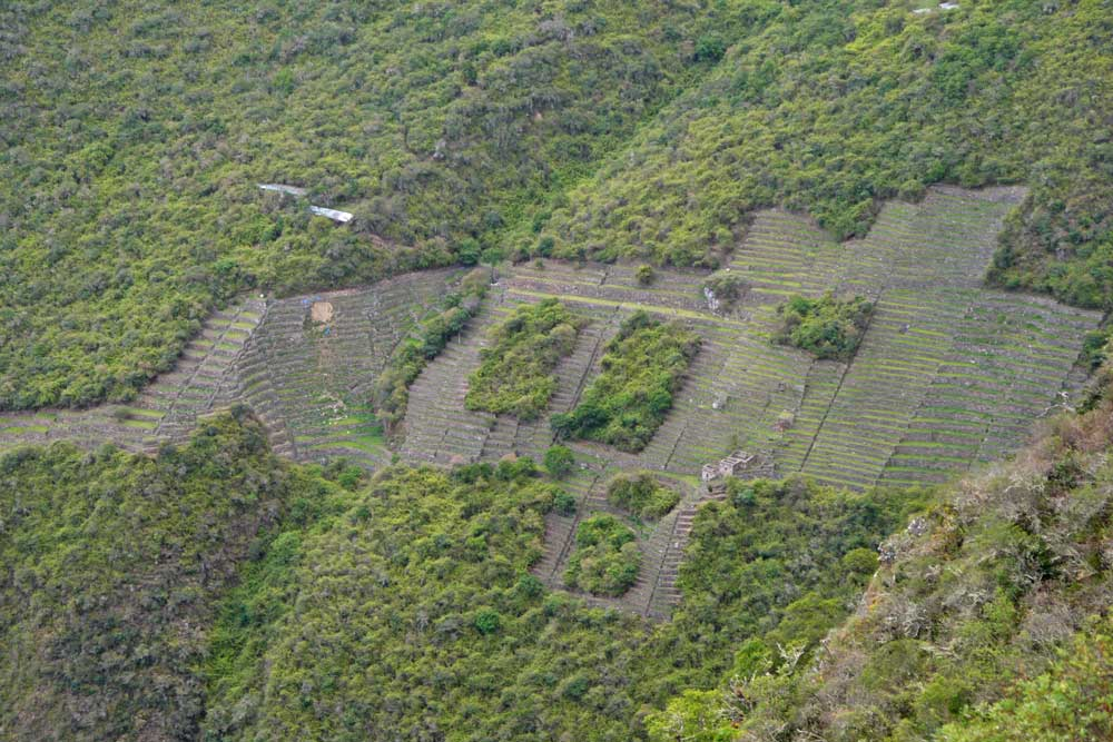 Lower Choquequirao ruins from the trek