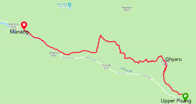 Trekking route map Upper Pisang - Ghyaru - Manang