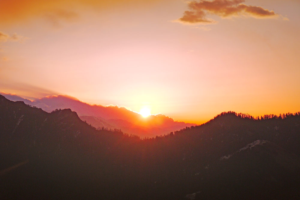 Beautiful sunrise on the top of Poon Hill the last day on Annapurna Circuit trek