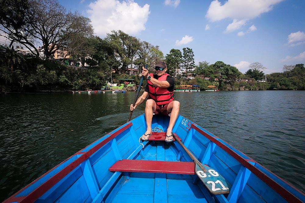 Rowing in a doonga on Phewa Lake Pokhara