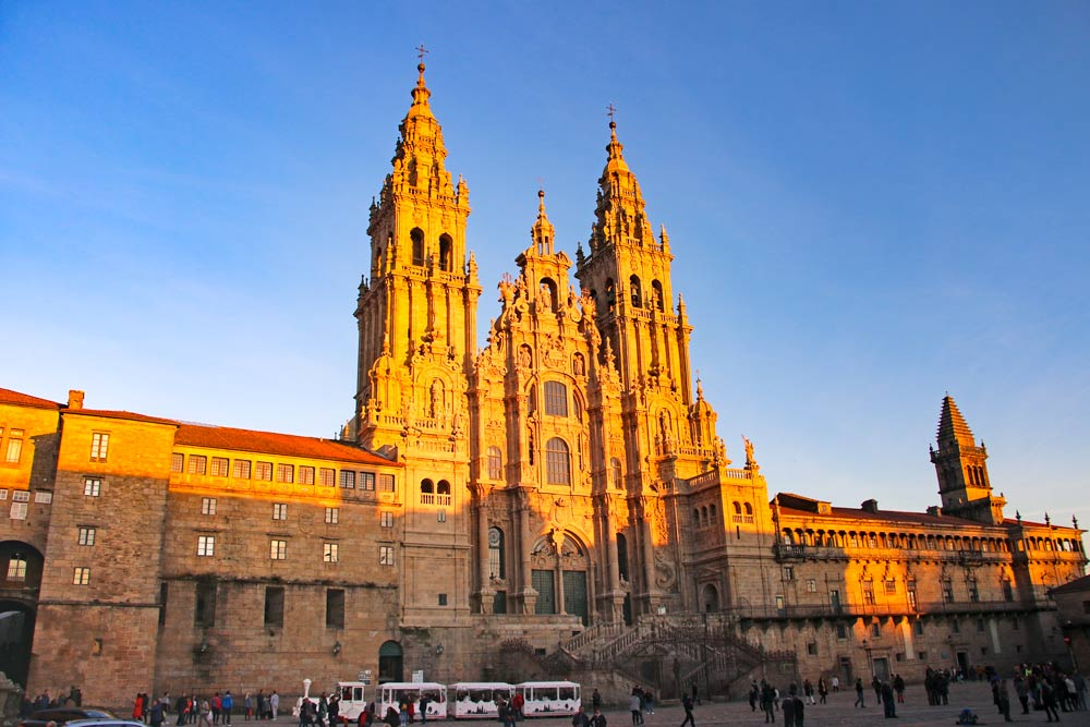 The Cathedral of Santiago at the sunset
