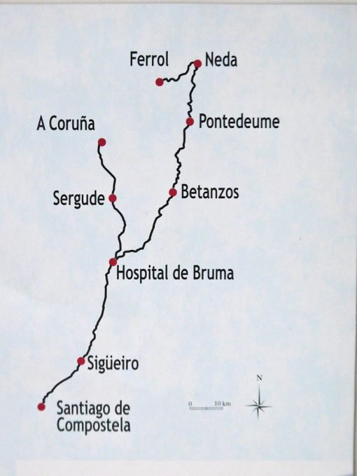 A map of the route from A Coruña and Ferrol to Santiago de Compostela