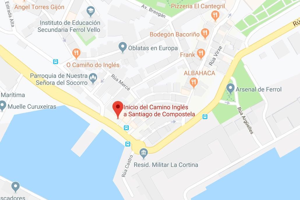 Camino Inglés starting point, Ferrol, Spain