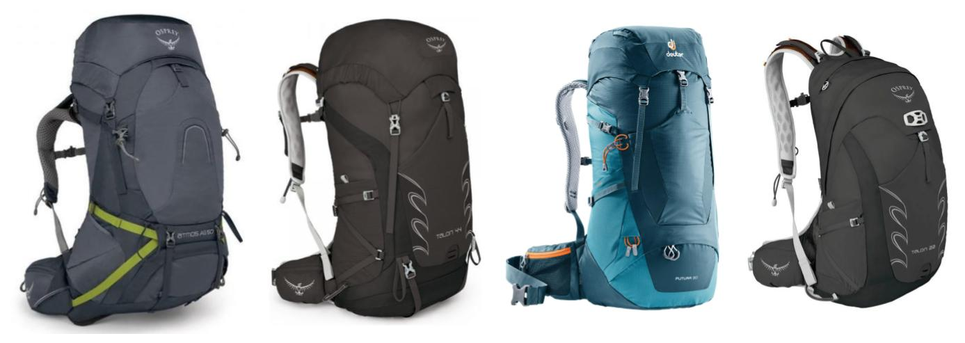 Four backpacks for walking the Camino; A 50L Osprey, a 44L Osprey, a 30L Deuter and a 22L Osprey