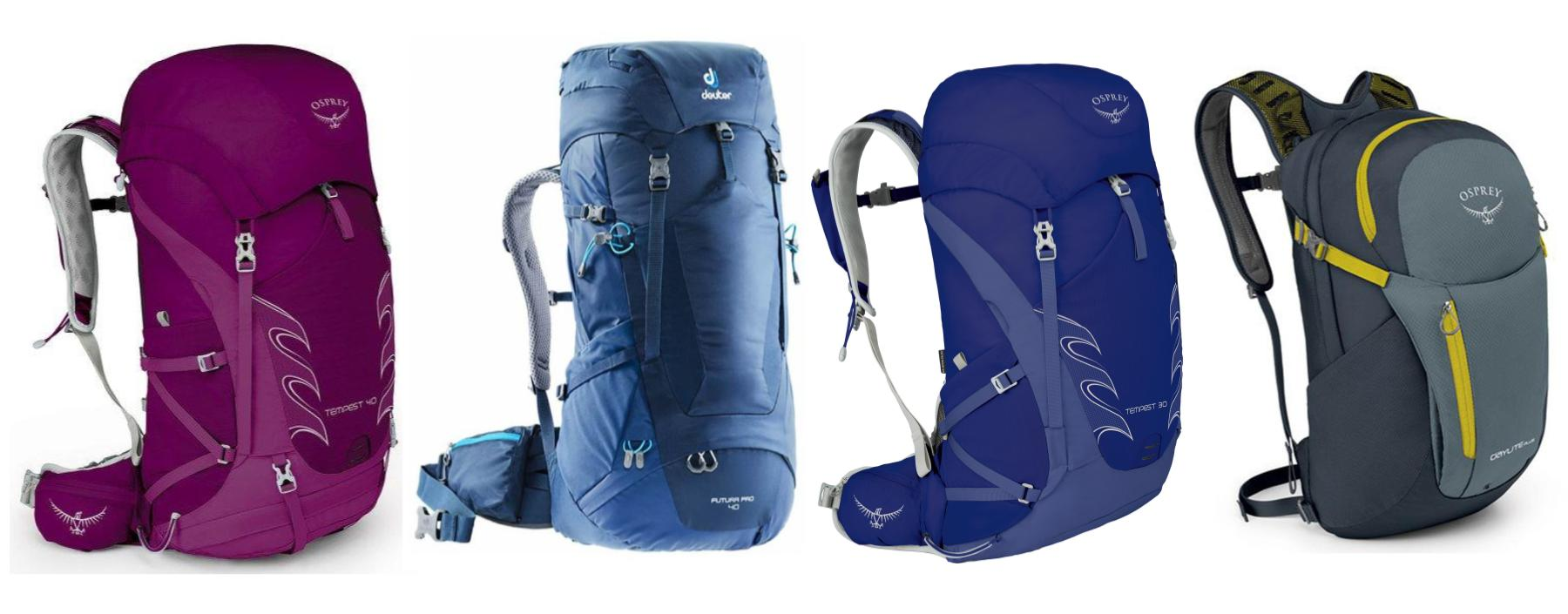 Four backpacks for women to walk the Camino de Santiago. Two 40L backpacks, one 30L pack and one 13L daypack