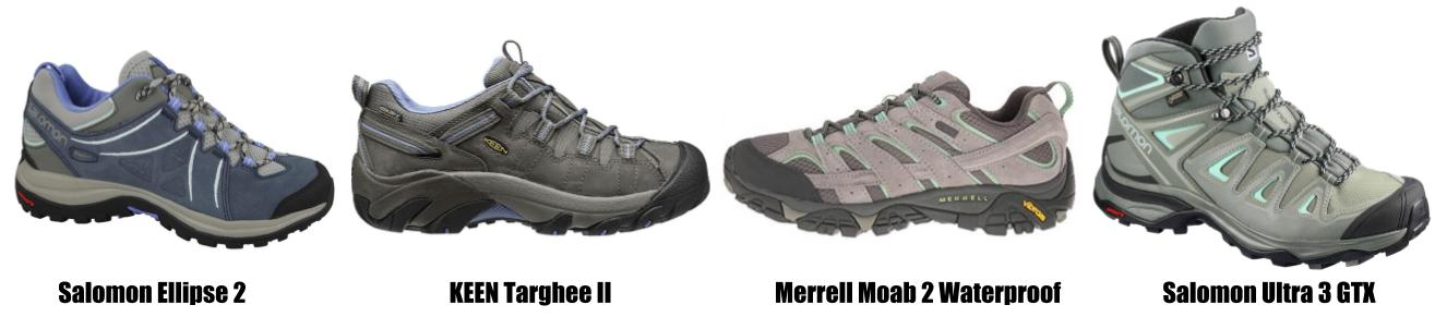 Suggested hiking shoes for women for walking the Camino