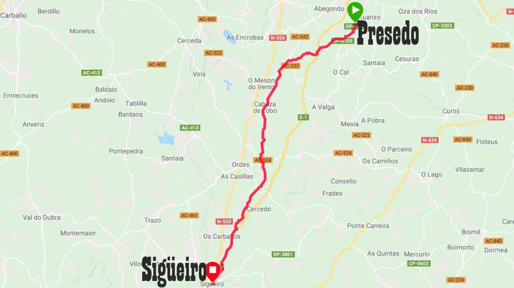 A walking trail from Presedo to Sigueiro on the English Way