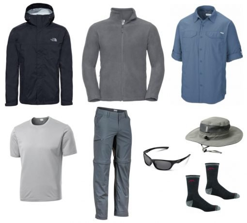 A suggested hiking outfit for a man for walking the Camio