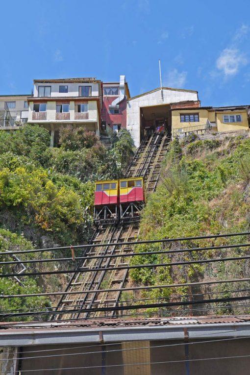 Steep slope and the funicular Espiritu Santo in Valparaiso
