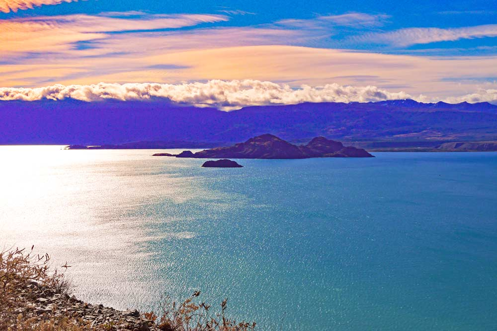 Breathtaking sunset at the General Carreras Lake, Patagonia