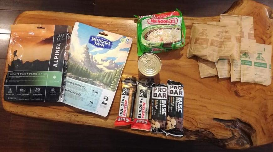 food packed for Juan de Fuca trail
