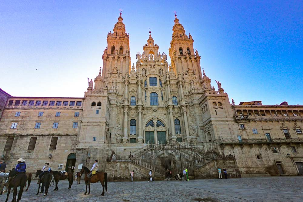 The beautiful Cathedral of Santiago de Compostela in Spain