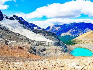 A view of Cerro Castillo Lake and the glacier from the trek