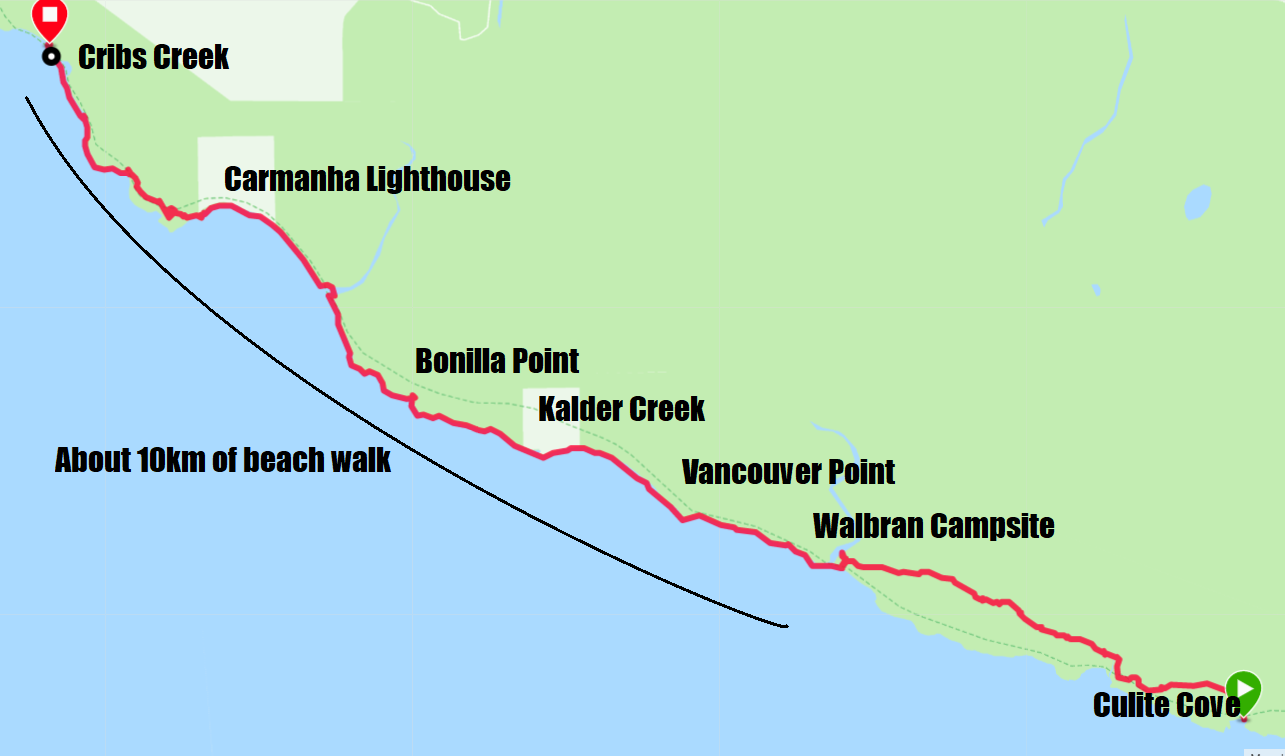 West Coast Trail Map - Day 3 Culite Cove to Cribs Creek