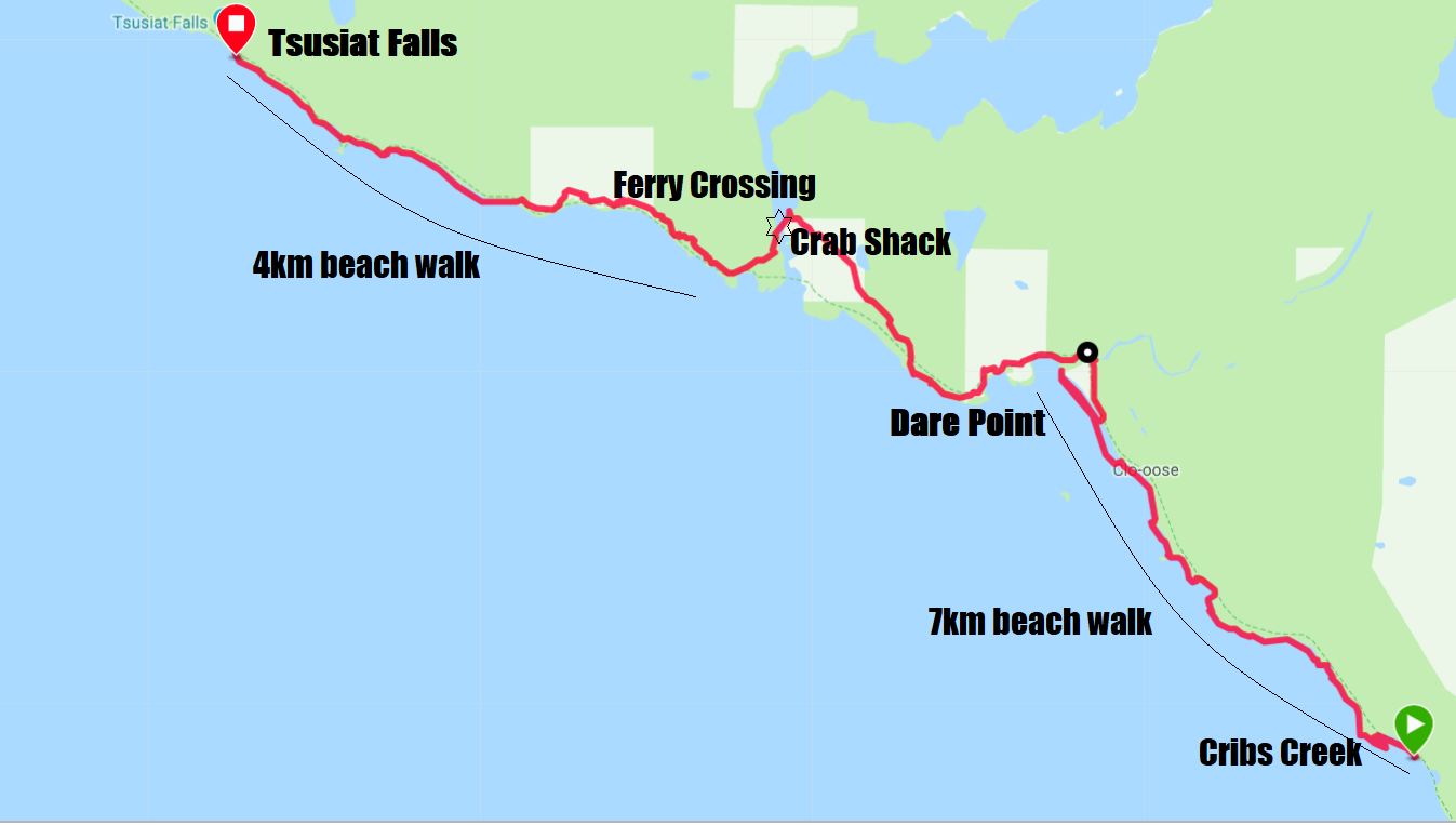 West Coast Trail Map - Day 4 Cribs Creek to Tsusiat Falls