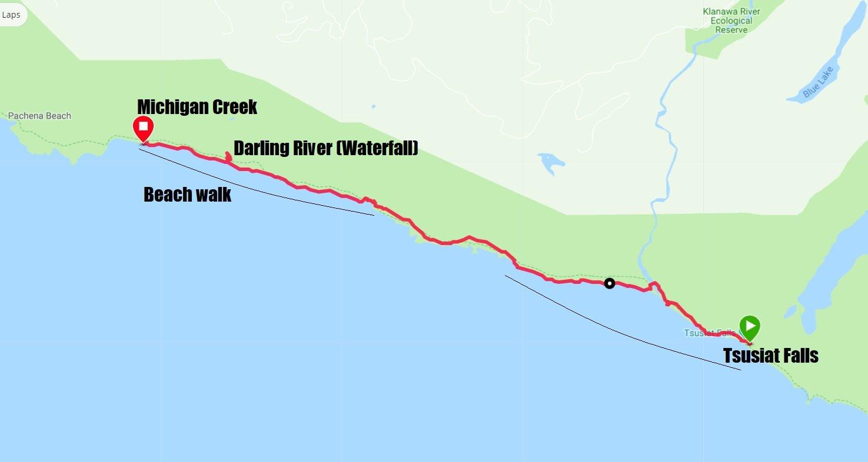 West Coast Trail Map - Day 5 Tsusiat Falls to Michigan Creek