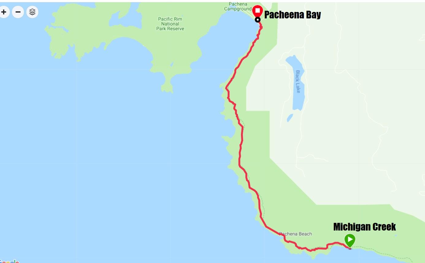 West Coast Trail Map - Day 6 Michigan Creek to Pahena Bay