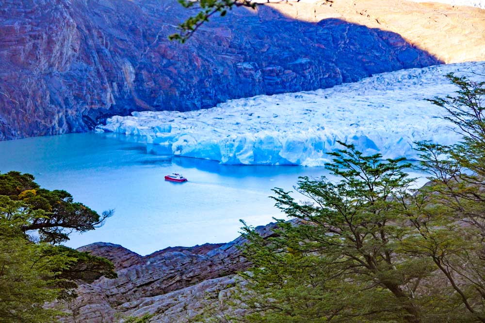 A view of Grey Glacier on a day hike in Patagonia