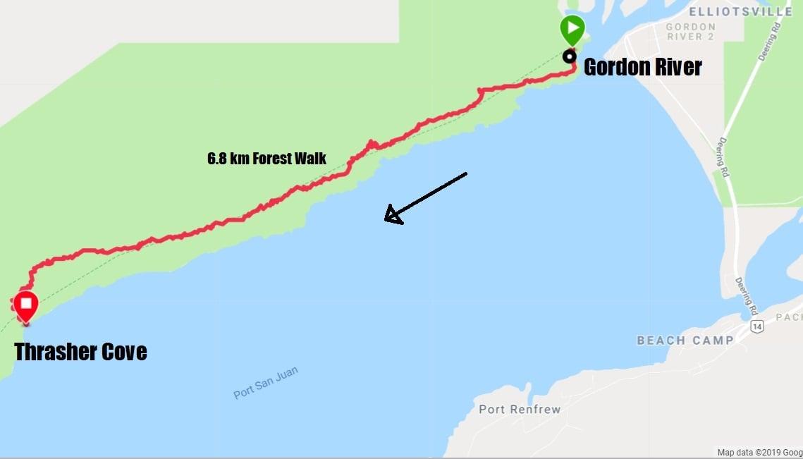 Map west coast trail day 1