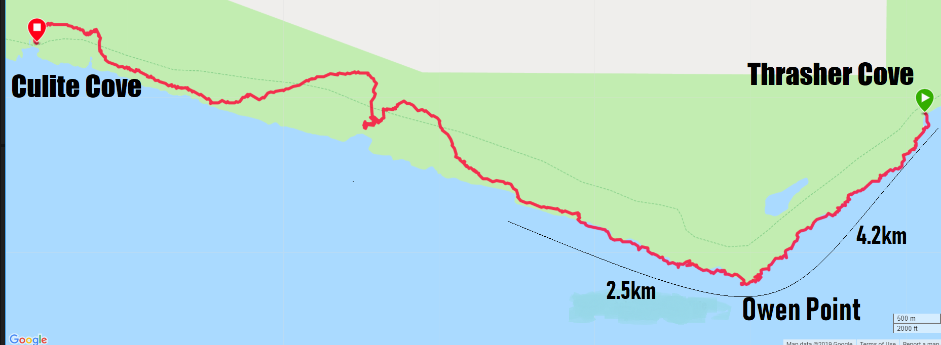 West Coast Trail Map Day 2 - Thraser Cove to Culite Cove
