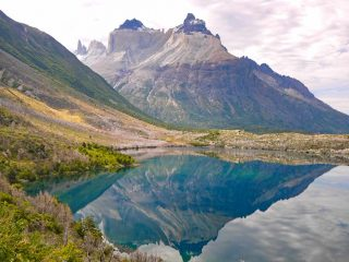 A beautiful bizarre shaped mountains and its reflection on the water