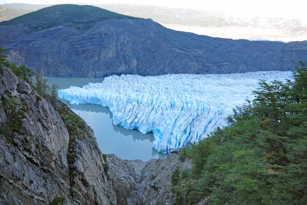 An amazing view of Grey Glacier on a day hike in Torres del Paine
