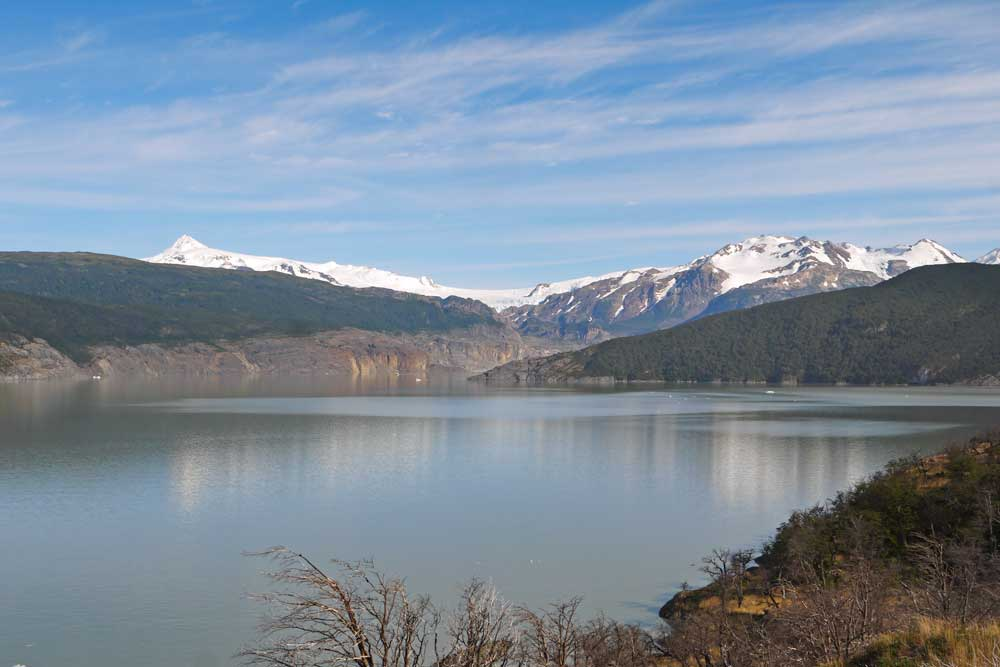 The view of Lago Grey from a hiking trail