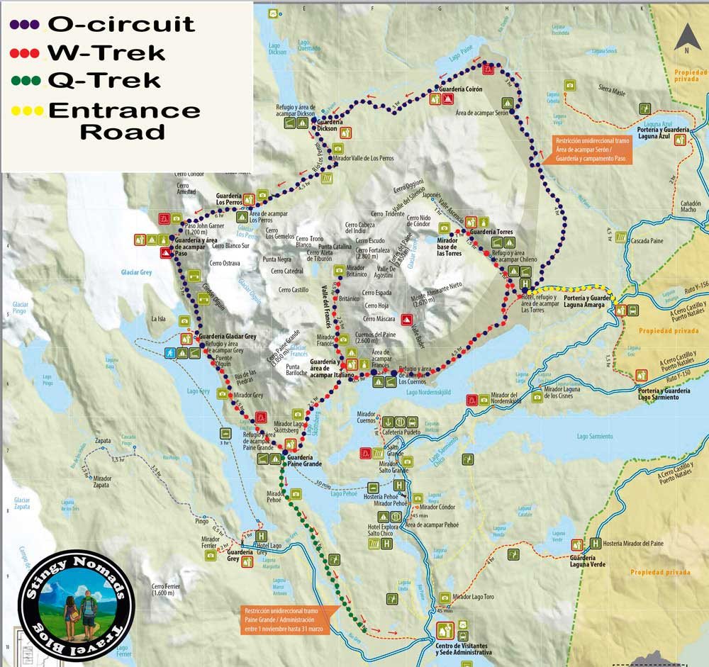 A map showing different multi-day treks in Torres del Paine