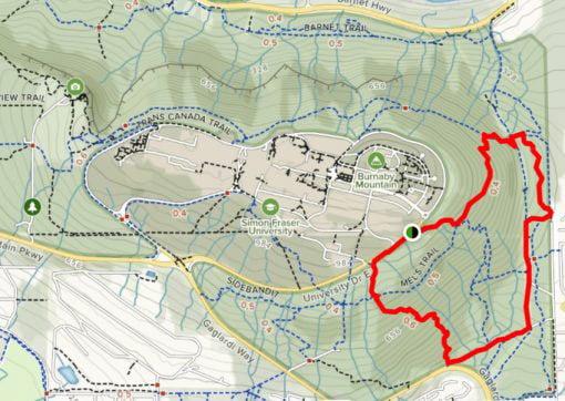 Burnaby Loop Hike map Vancouver