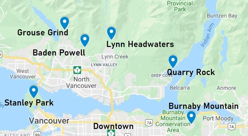 Vancouver Hikes easy to reach with local public transport.