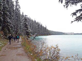 Lake Louise lake shore hiking at Banff