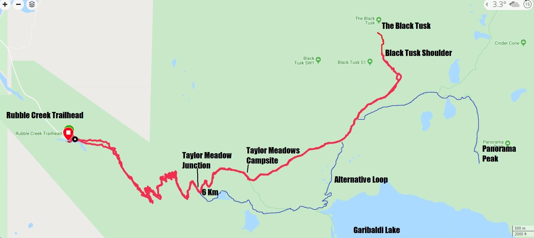 Hiking Map to Black Tusk in Garibaldi National Park