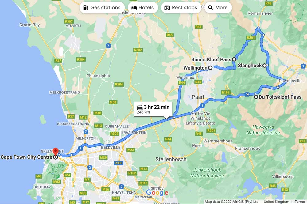 A road trip map from Cape Town to two passes near Paarl