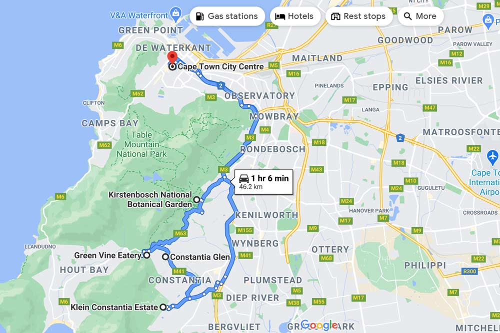 A driving route map of the trip to Constantia Valley