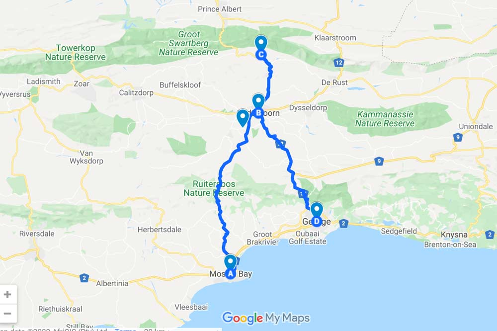 A route to Oudtshoorn from the Garden Route