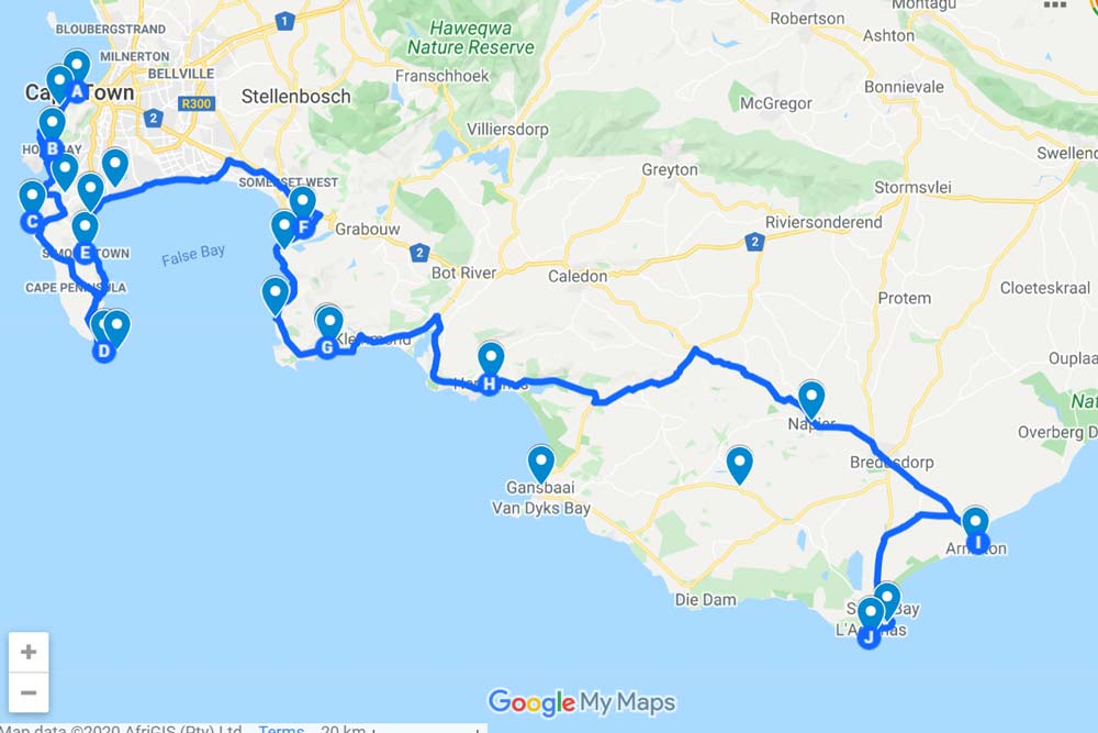 Cape Town to Cape Agulhas road trip map