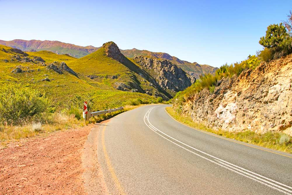 Beautiful scenery on the way to the Franschhoek Pass