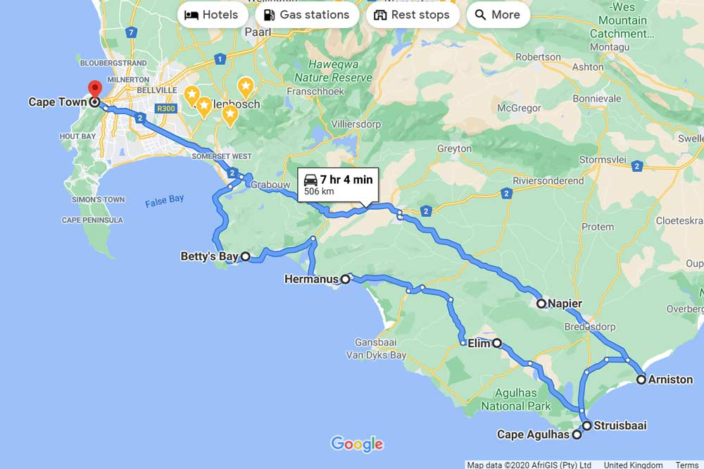 A route map of the drive from Cape Town to Cape Agulhas