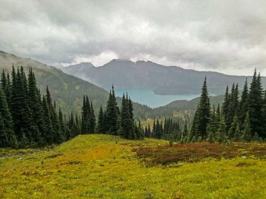 views of Garibaldi Lake hiking up to the Black Tusk