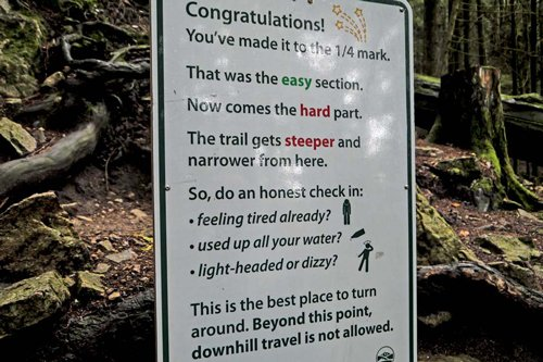 Grouse Grind warning sign