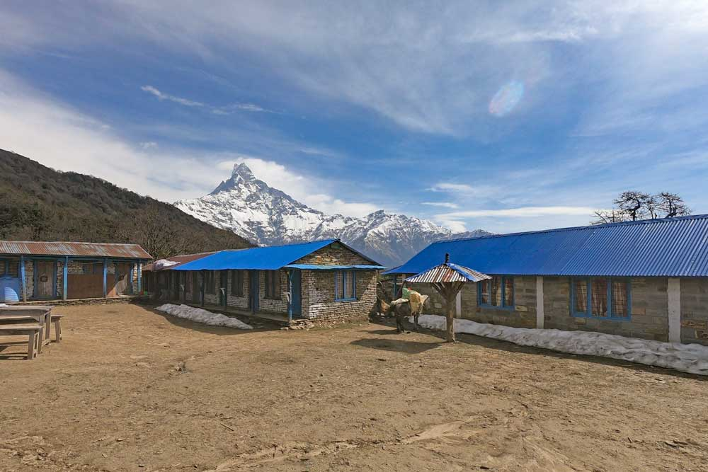 Two guesthouses with blue roof at Low Camp on the trek