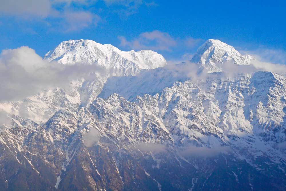 Himalayan snowy peaks view from the trek