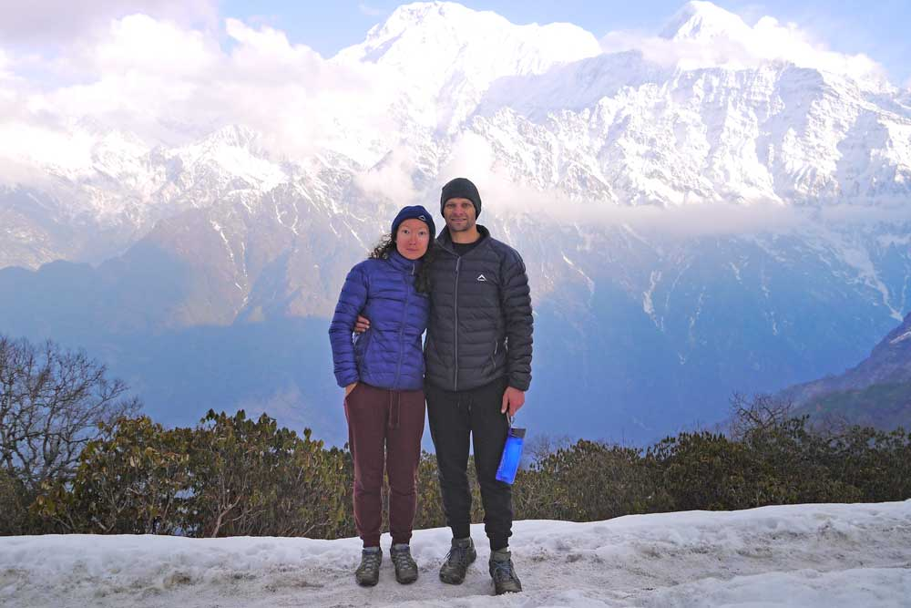 Stingy Nomads posing for photos at High Camp on the Mardi Himal trek