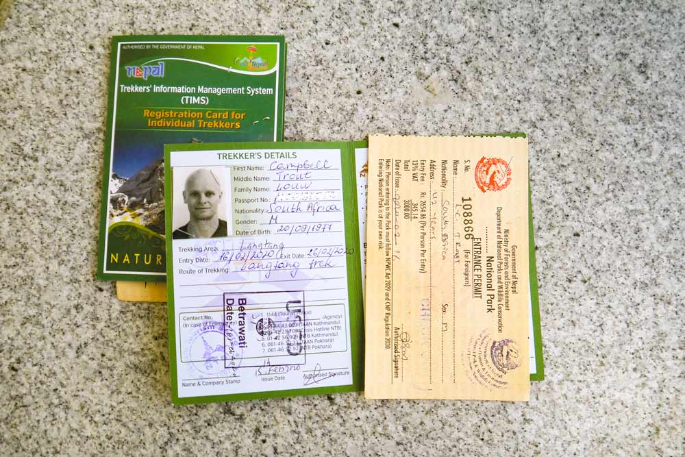 TIMS cards and permits for the Langtang trek