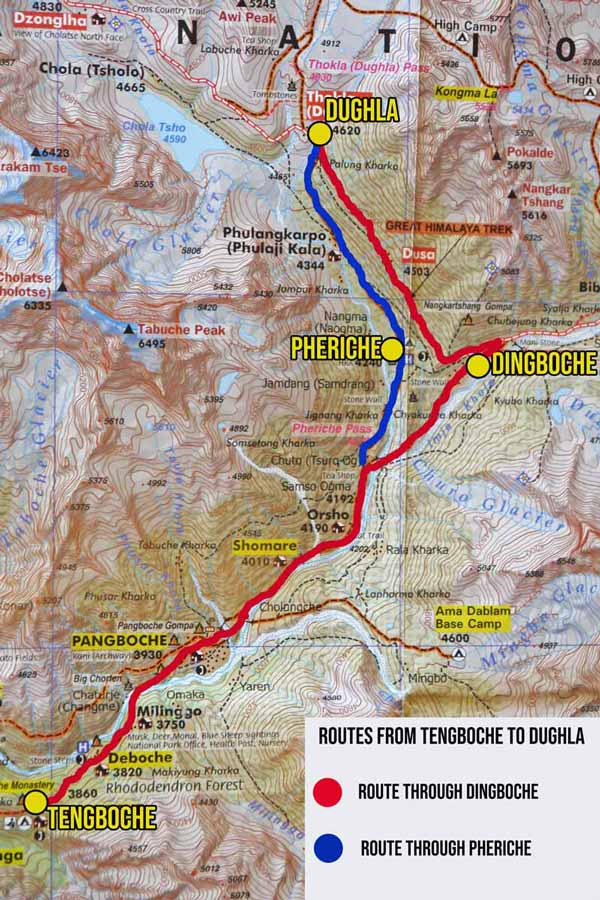 A map with two route options from Tengboche