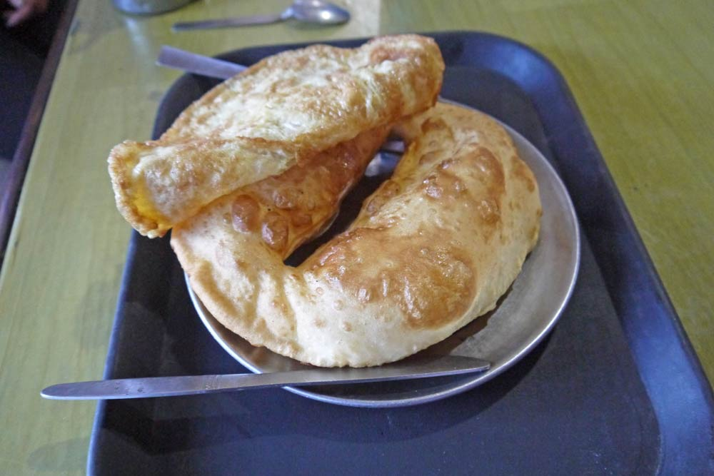 Gurung bread with an omelette on top