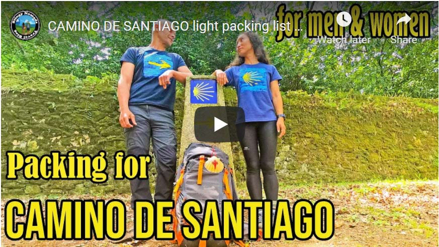 YouTube thumbnail for the packing list for the Camino