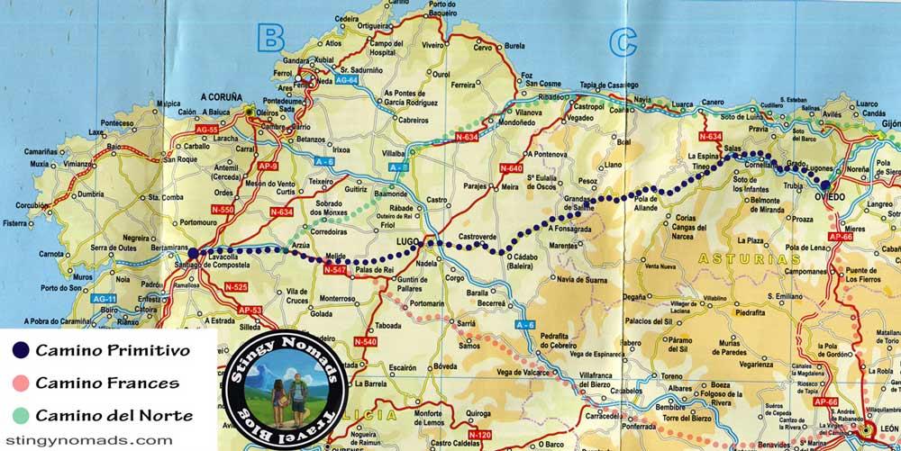 A map of the Camino Primitivo route to Santiago
