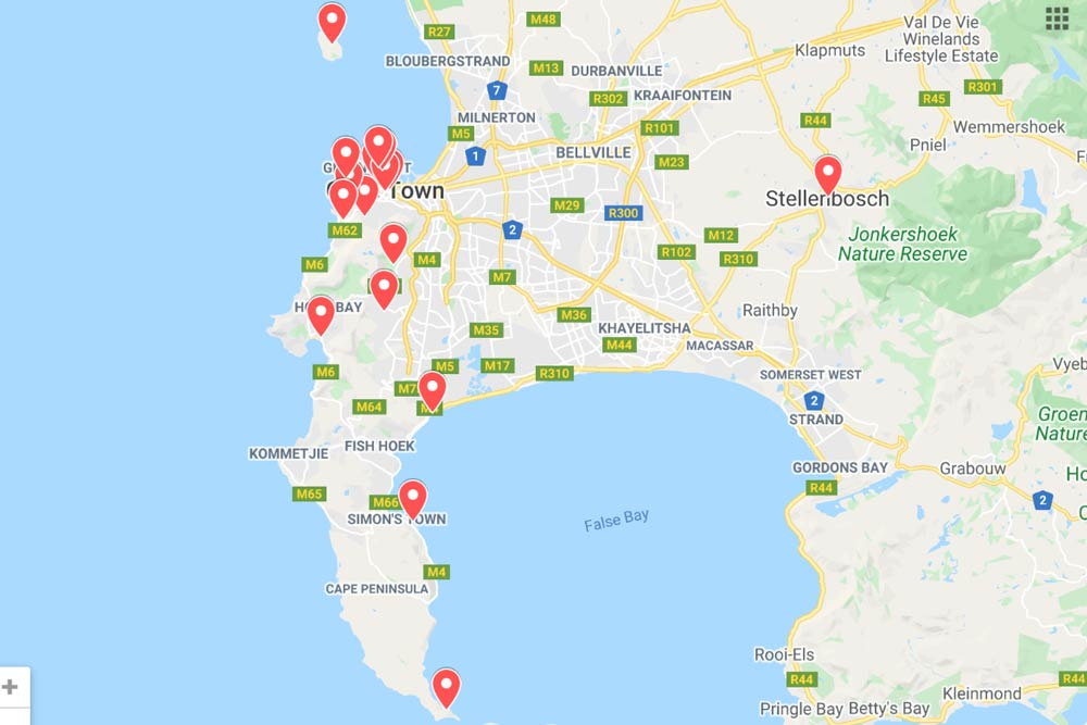 A map with 17 must-see places in Cape Town