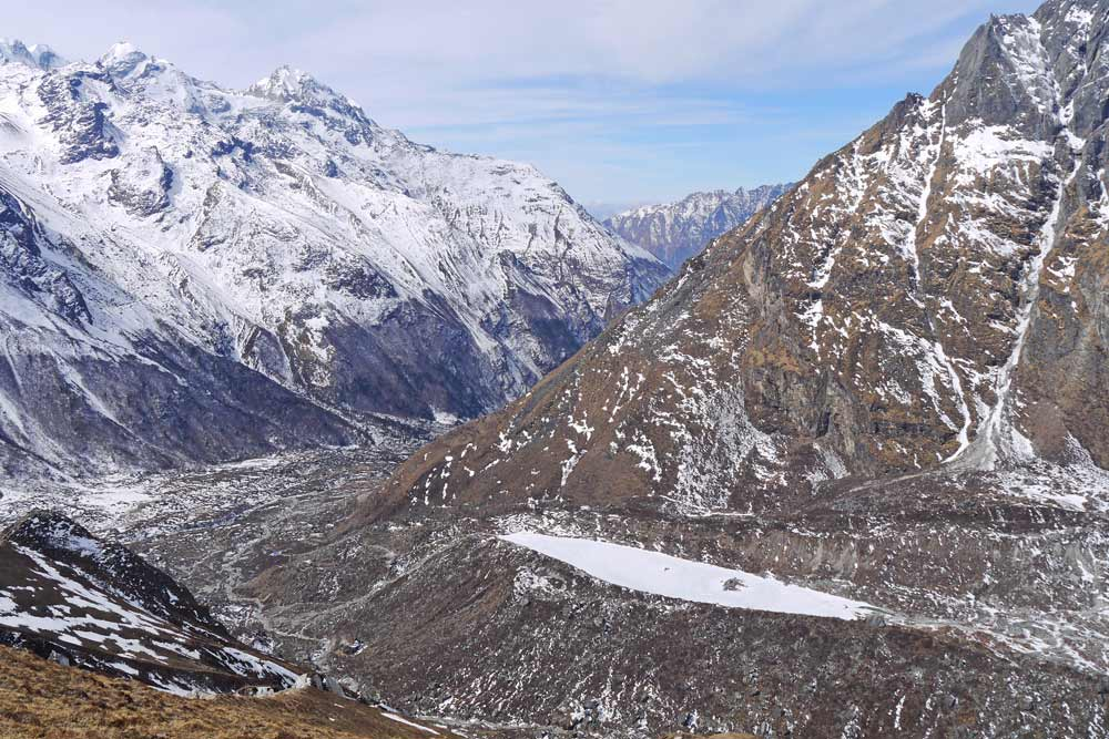 Beautiful mountainous scenery in February on the Langtang trek